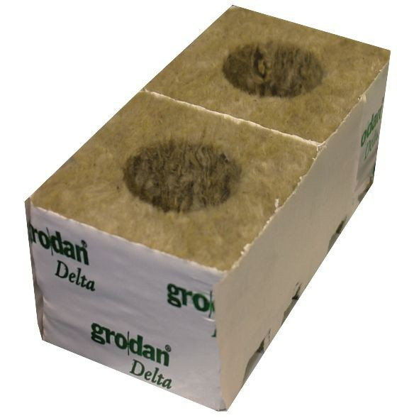 "GRODAN STRIP of 8 X 3"" CUBES (SMALL HOLE 25MM)"